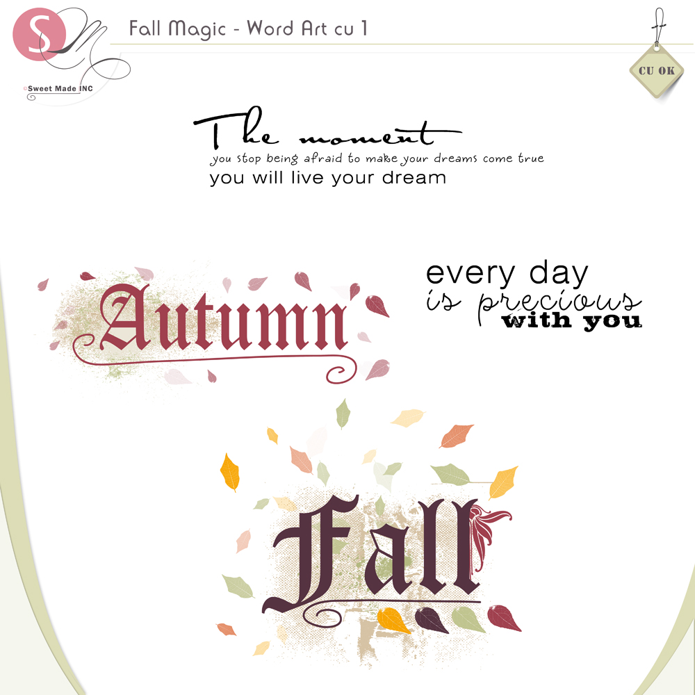 Fall Magic WordArt stamps (cu)
